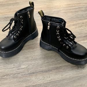 Children's Black Leather Biker Boots